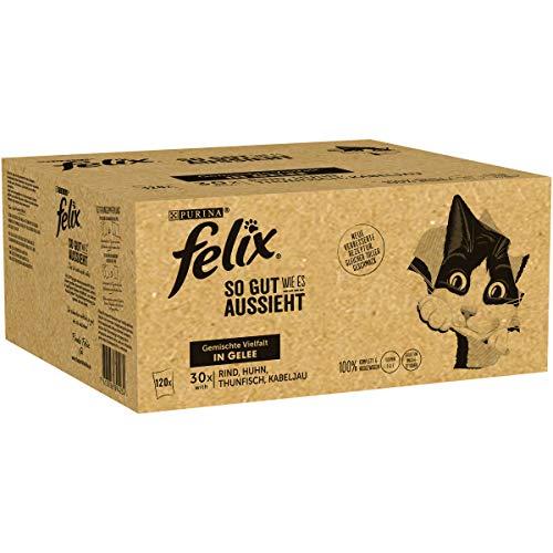Felix Katzennassfutter So gut wie es aussieht in Gelee Gemischte Vielfalt mit Kabeljau 120x 85 g Portionsbeutel