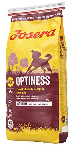 JOSERA Optiness (1 x 15 kg)   Hundefutter mit eiweißreduzierter Rezeptur ohne Mais   Super Premium Trockenfutter für ausgewachsene Hunde   1er Pack