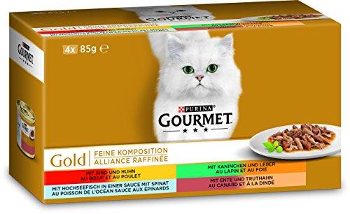 Purina GOURMET Gold Feine Komposition:Katzennassfutter, hochwertige Tiernahrung für ausgewachsene Katzen, Dose, 12 x 4 x 85 g