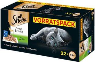 Sheba Sauce Lover - Feine Häppchen in Sauce für ausgewachsene Katzen - Alleinfuttermittel in der - 32 Schalen (32 x 85g)